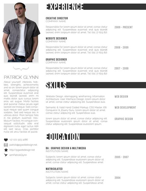 resume template photoshop free creative professional photoshop cv template