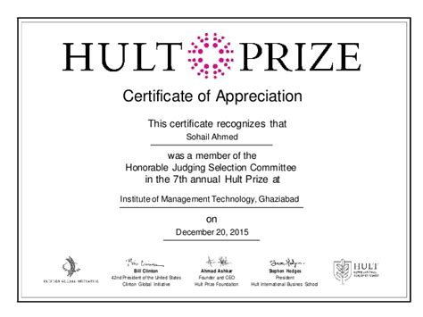 hult prize certificate of appreciation for judging