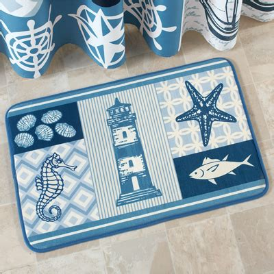 nautical coastal waters bath rug from collections etc