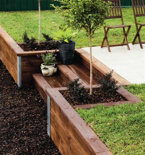 Landscape Timbers On A Hill Build A Retaining Wall Terraced Garden Gardens And Wood