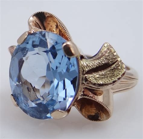 Mur 10 Blue retro 10k tri color gold ribbon style blue topaz ring from mur sadies on ruby