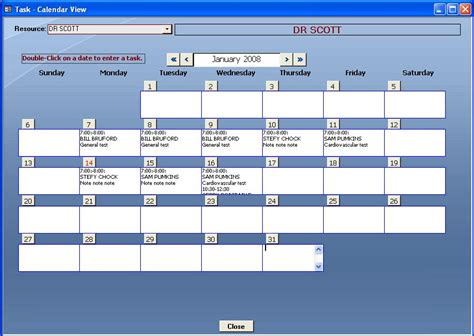 Access Calendar Template microsoft access appointment template software