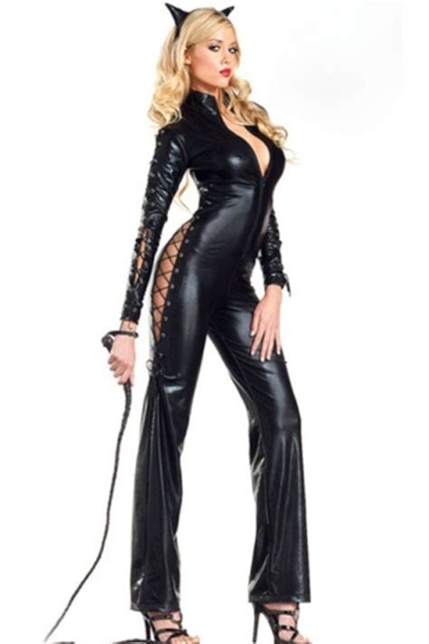 Jumpsuit Cat black womens faux leather jumpsuit cat