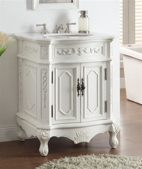 27 Inch Bathroom Vanities Adelina 27 Inch White Finish Antique Bathroom Vanity