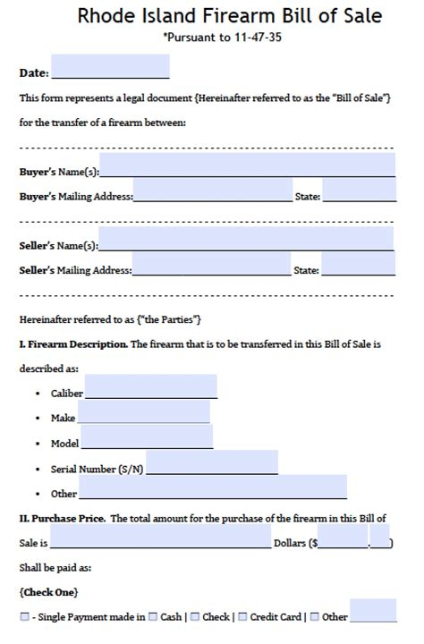Free Rhode Island Firearm Gun Bill Of Sale Form Pdf Word Doc Bill Of Sale Template Ri
