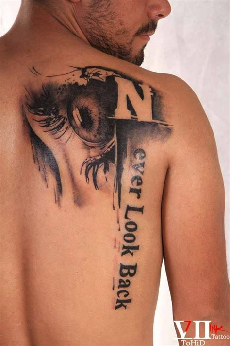 never look back tattoo the eye never look back black and grey