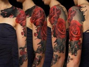 red roses full sleeve tattoo ideas cool tattoo designs