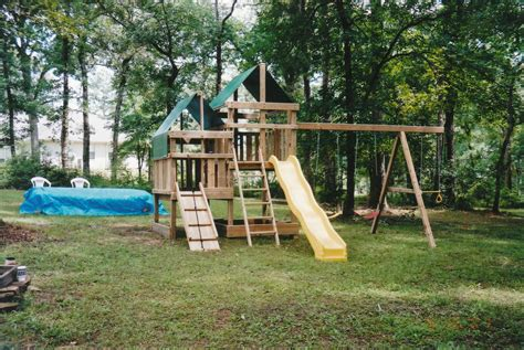 wooden swing set with fort gemini playset diy wood fort and swingset plans
