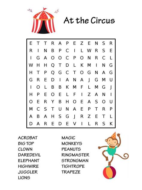 Thematic Magnet Puzzle Circus 282 best images about word search puzzles on