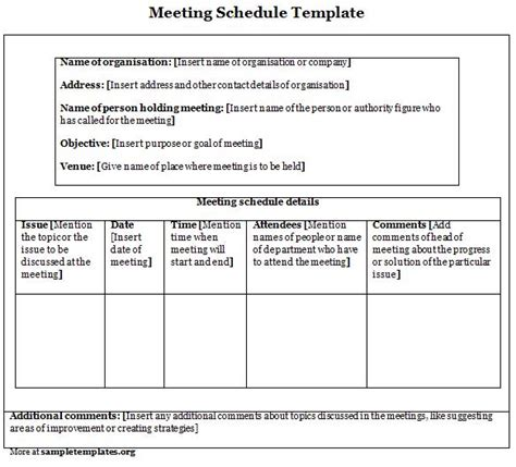 meeting calendar template meeting schedule template calendar template 2016