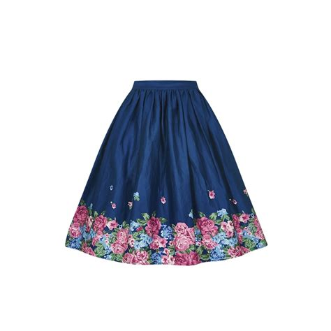 swing skirt collectif vintage jasmine floral border print swing skirt