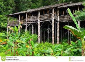 borneo sarawak tribal longhouse architecture stock photo