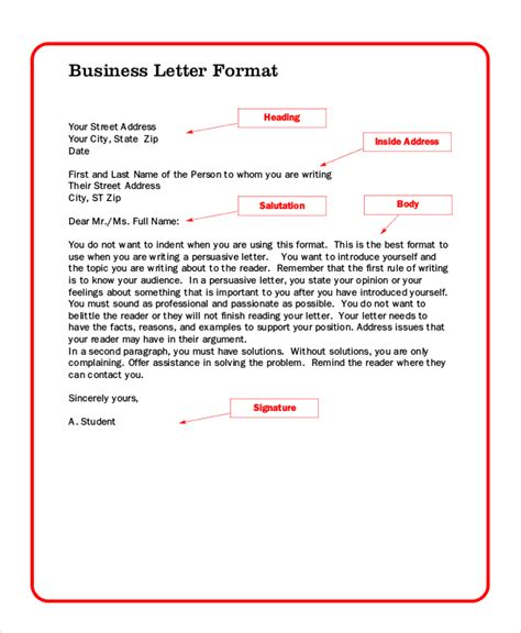 Business Letter Format For Students Sle Professional Letter 6 Documents In Pdf Word