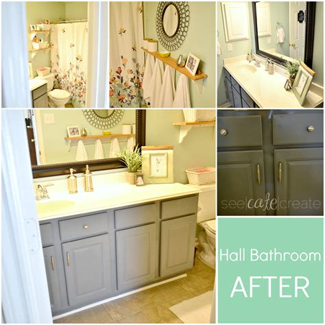 spray paint bathroom cabinets down for maintenance see cate create