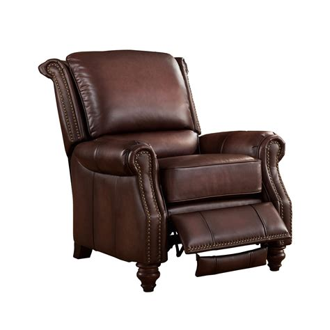 recliner chair churchill traditional genuine brown leather pushback
