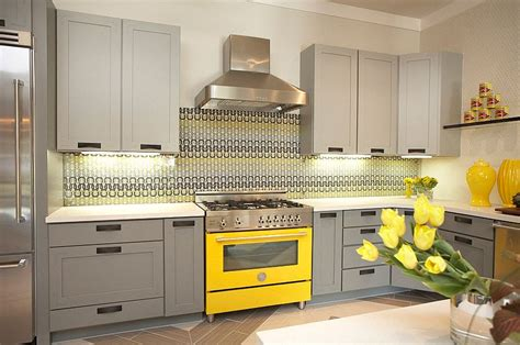 custom glass backsplash 11 trendy ideas that bring gray and yellow to the kitchen