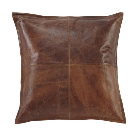 brennen leather throw pillow cover in brown a1000637p