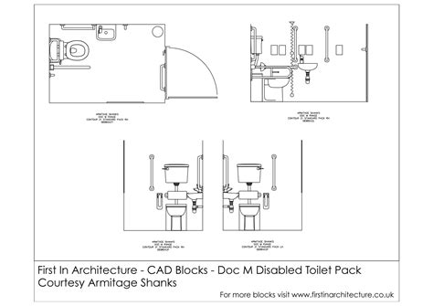 Handicap Accessible Bathroom Floor Plans by Free Cad Blocks Doc M Disabled Toilet First In