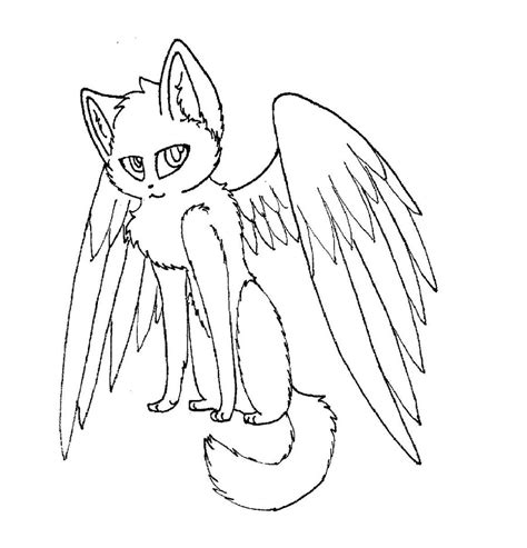 angel cat coloring page winged cat lineart by rahsterrox on deviantart
