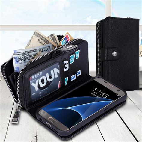 Samsung S7 Edge Magnet Wallet Leather Zipper Cover Dompet Armor for samsung s8 plus magnet wallet leather zipper gel inner