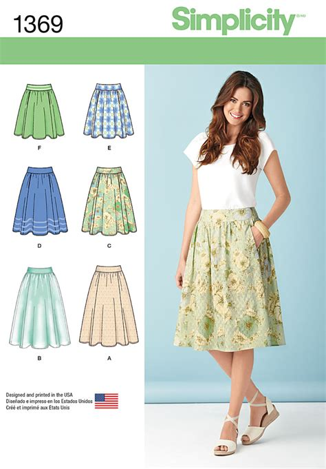 pattern sewing simplicity simplicity 1369 misses skirts in three lengths