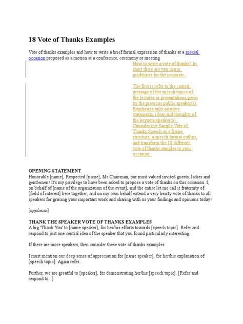 template of vote of thanks 18 vote of thanks exles gratitude journalism