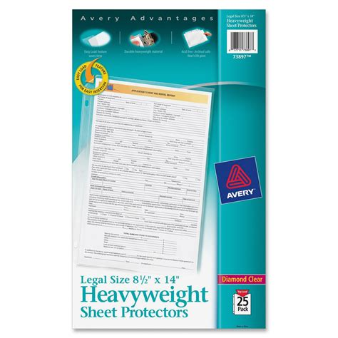 avery legal size heavyweight sheet protectors