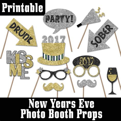 printable photo booth props new year 2017 new years photo booth props new years eve printable
