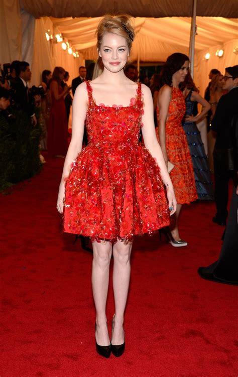 emma stone red dress emma stone met gala red carpet pictures 2012 popsugar