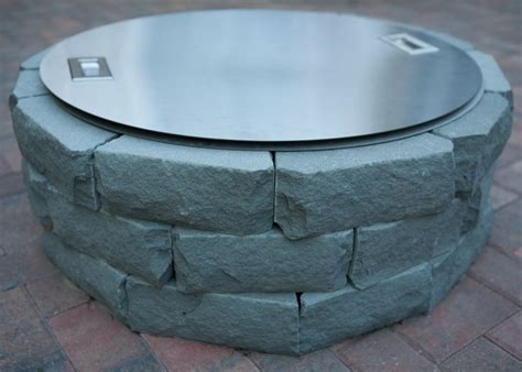 A Gas Fire Pit With Cover Installed By Barrett Lawn Care Gas Pit Cover