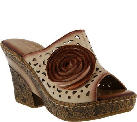 Wedges Amara step l artiste leather wedge sandals amara page 1 qvc
