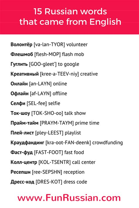 russian word for 15 conversational russian words