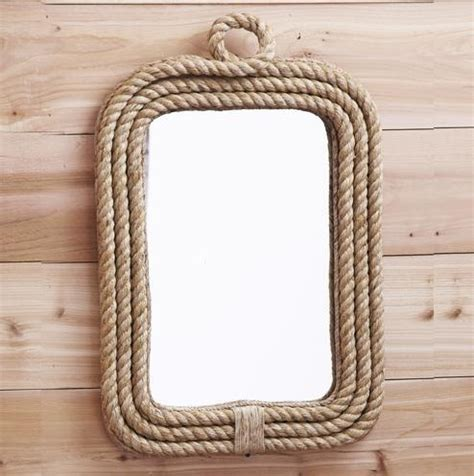 coastal decor rope edge wall mirror bathroom