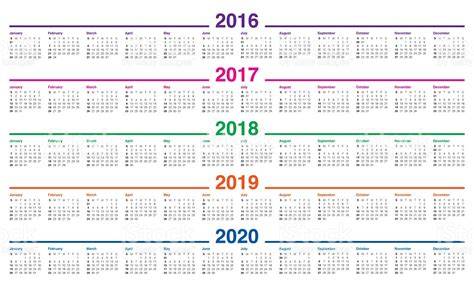 Calendrier 2019 Et 2020 Calend 225 2016 De 2017 2018 2019 2020 Photo Royalty Free