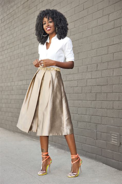 Fashion Pantry by Classic Button Up Shirt Gold Pleated Midi Skirt Style