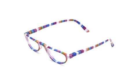 rainbow multicoloured half moon frame reading glasses