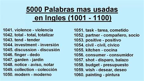 preguntas en ingles mas usadas 5000 palabras mas usadas en ingles 1001 1100 youtube