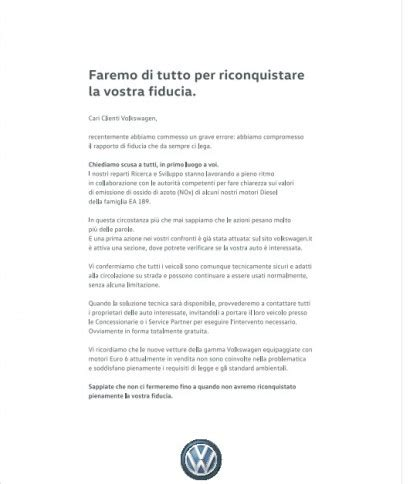 lettere di scuse le scuse della volkswagen sui quotidiani italiani