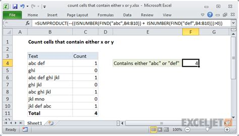 excel formula count cells that contain either x or y