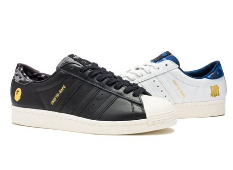 Kaos Bape X White Premium undefeated bape and adidas celebrate the superstar with