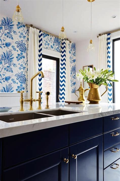 Navy Blue Kitchen by Navy Cabinets Eclectic Kitchen House Of Honey