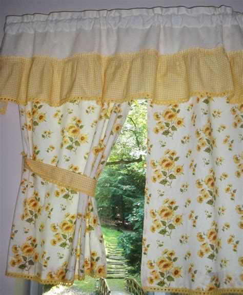 kitchen curtains and valance vintage by seamsoriginal on