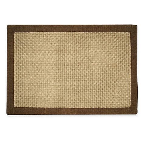chenille jute basketweave rug jute basketweave 2 foot x 3 foot accent rug with chenille border in chocolate bed bath beyond