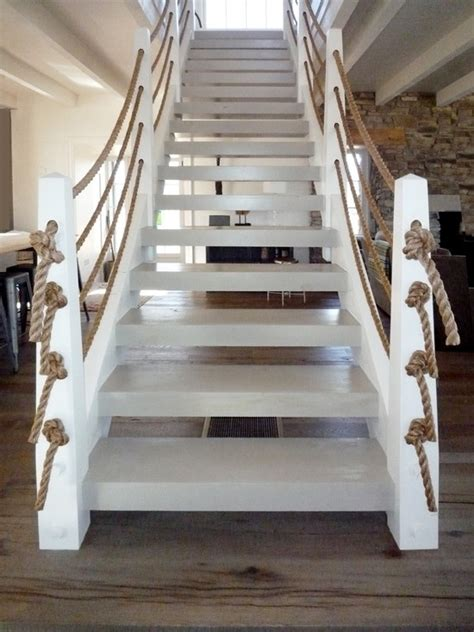 rope banisters for stairs rope stair rail beach pinterest