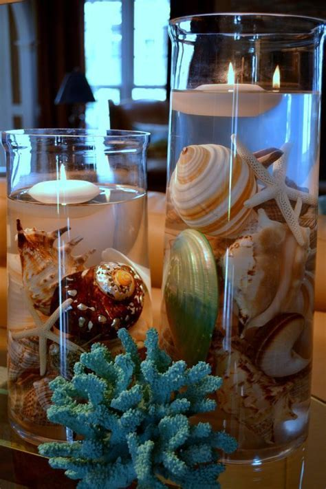 Center piece with beautiful shells, coral and floating