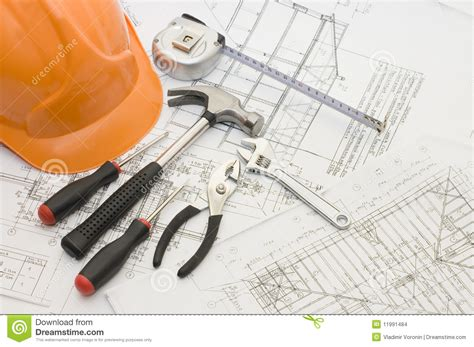 Building Tools On The House Plan Stock Photo   Image: 11991484