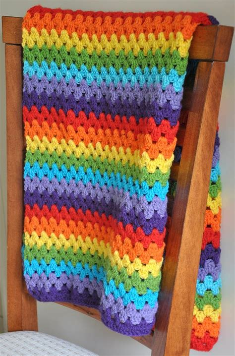 Rainbow Crochet Baby Blanket by Rainbow Blanket Crochet Stripe Afghan