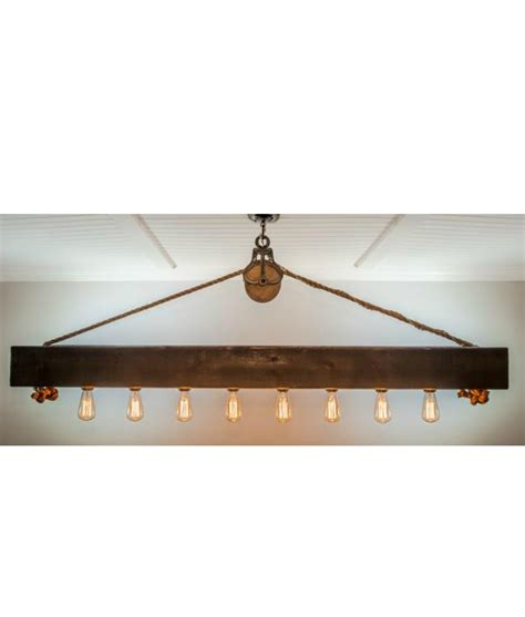 Cedar Dining Room Table rustic wood beam chandelier with edison bulbs rope and pulley