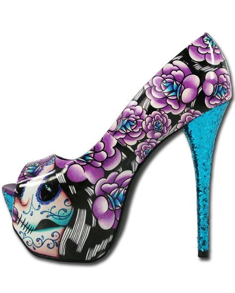 mega high heels details about fast muerta day of the dead