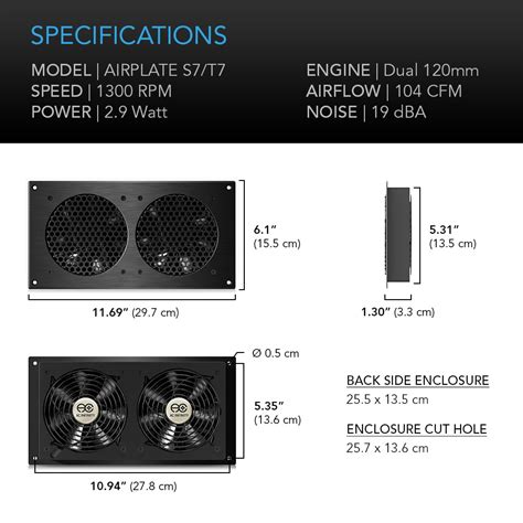 entertainment center cooling fan kit airplate s7 home theater and av cabinet cooling fan